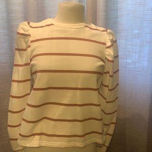 Zara striped flutter sleeve sweatshirt